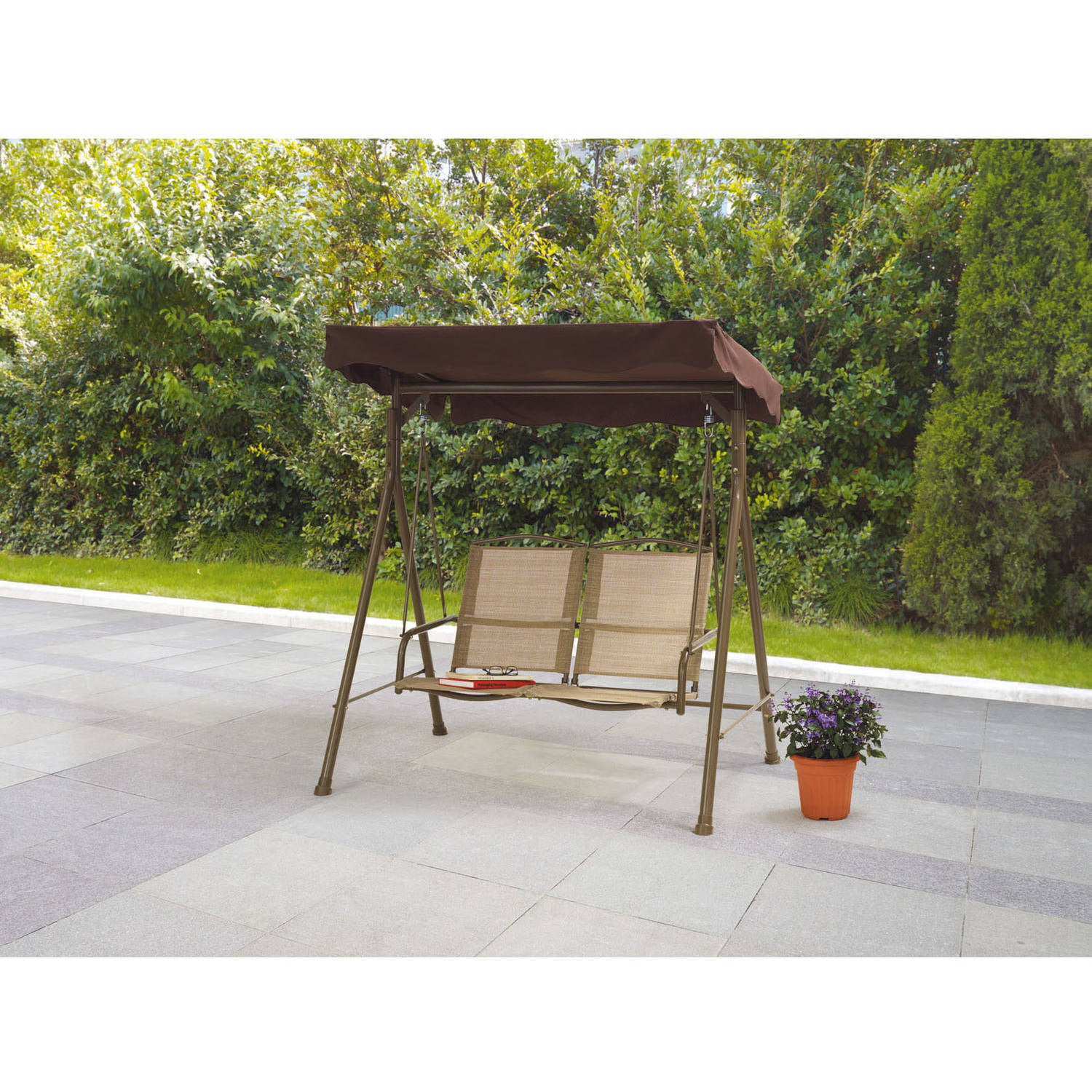 Costway Outdoor Patio Swing Porch Rocker Glider Bench Loveseat Garden Seat  Steel   Walmart.com