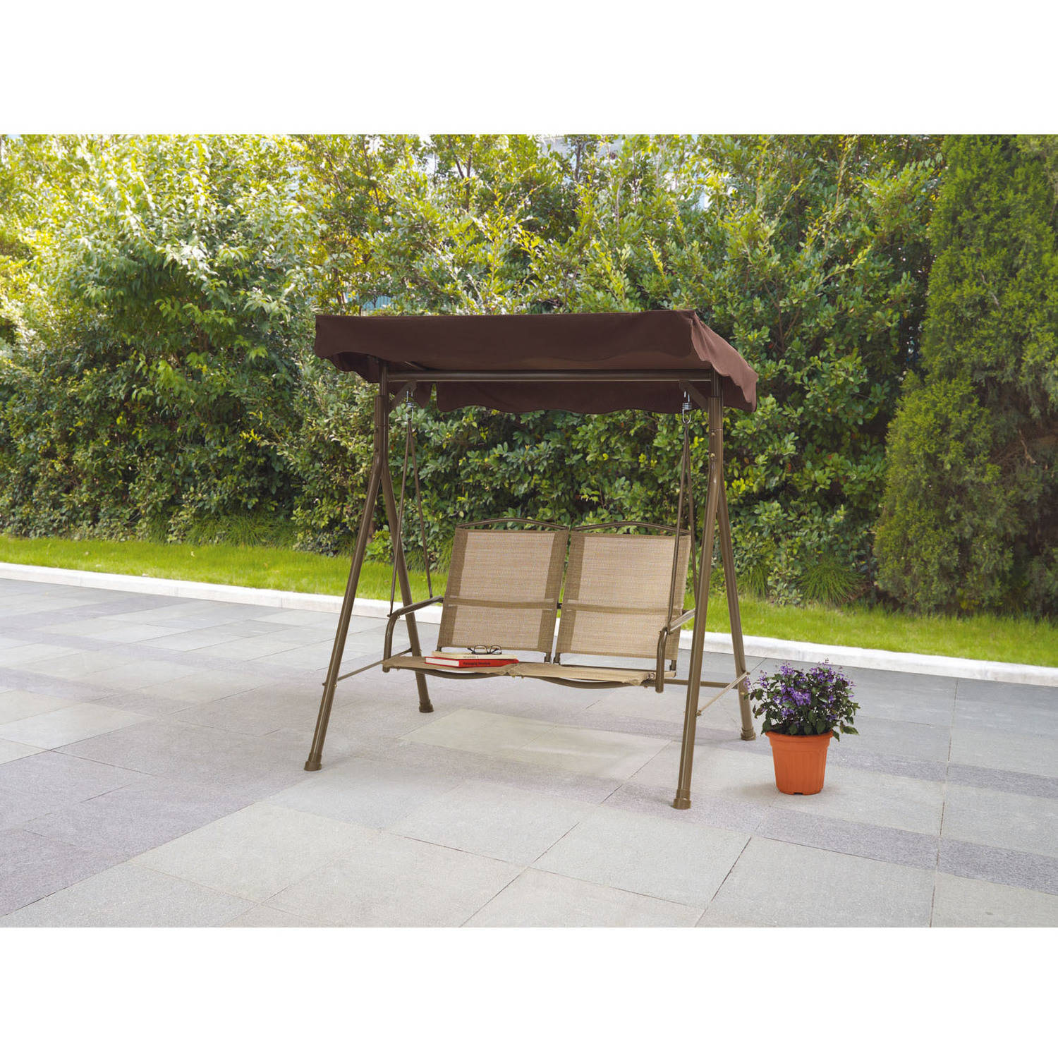 Mainstays Sand Dune 2-Seat Sling Porch Swing with Canopy