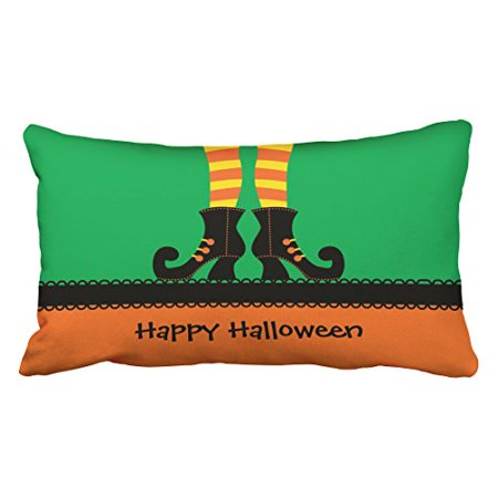 Winhome Vintage Modern Funny Halloween Witch Shoes Personalized Green And Yellow Polyester 20 X 30 Inch Rectangle Throw Pillow Covers With Hidden