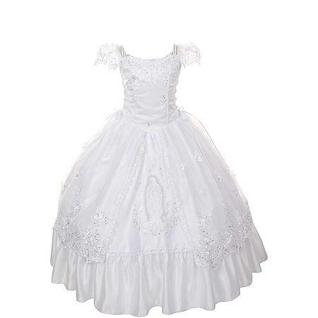 Rain Kids Girls 18 White Virgin Mary Organza First Communion Dress - First Communion Present