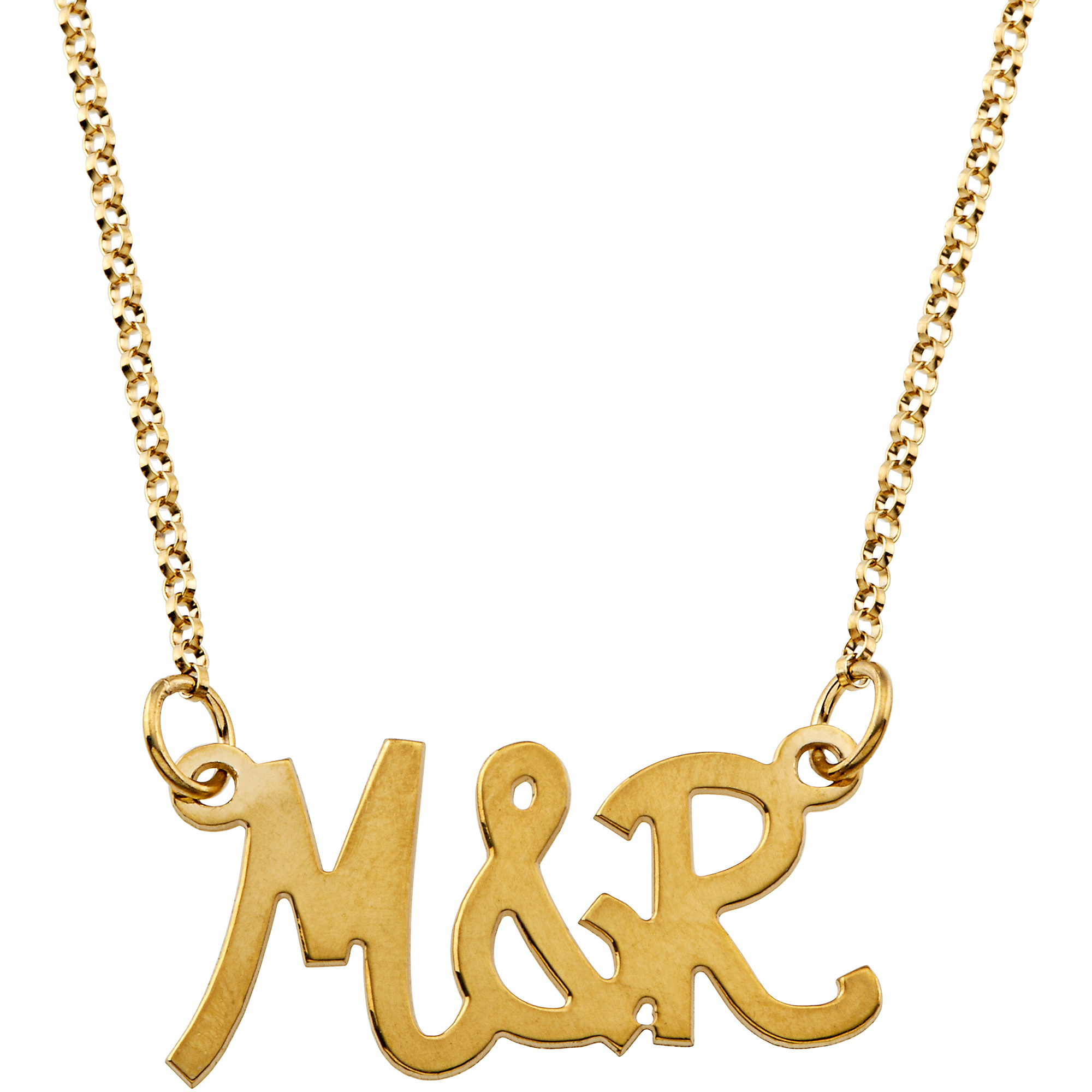 Personalized Women's Gold over Sterling Sivler Uppercase Initial Couples Necklace
