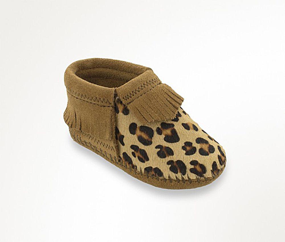 Minnetonka Boys Riley Taupe And Leopard Bootie by MINNETONKA