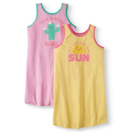 Toast & Jammies Girls 2 Pack Tank Nightgowns