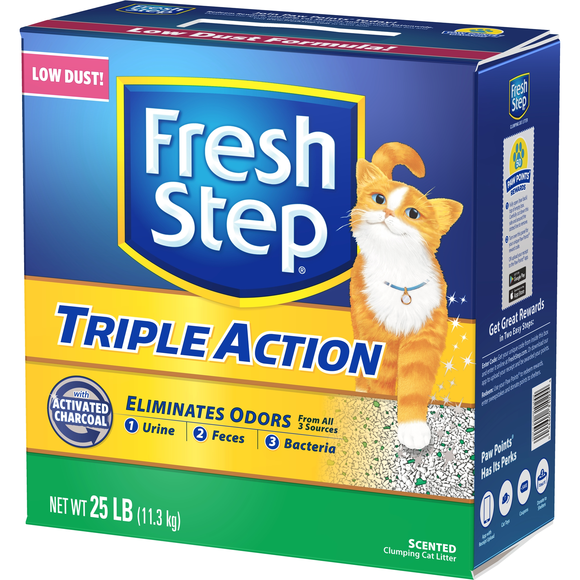 Fresh Step Triple Action Scented Litter, Clumping Cat Litter, 25-lb