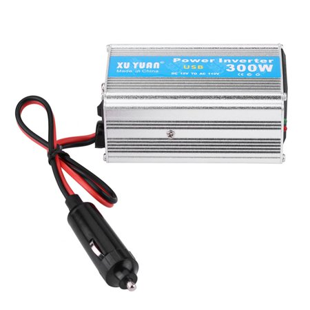 WALFRONT Silver 300W DC 12V to AC 110V Car Power Inverter Converter USB Charger Adapter,12V to 110V Power Inverter,Car Power Inverter - image 4 of 7