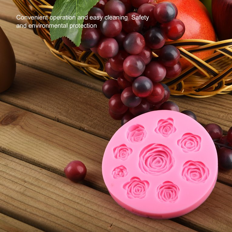 Click here to buy 3D Silicone Rose Flowers Mold Fondant Cake Mold DIY Chocolate Baking Tool?Pink.