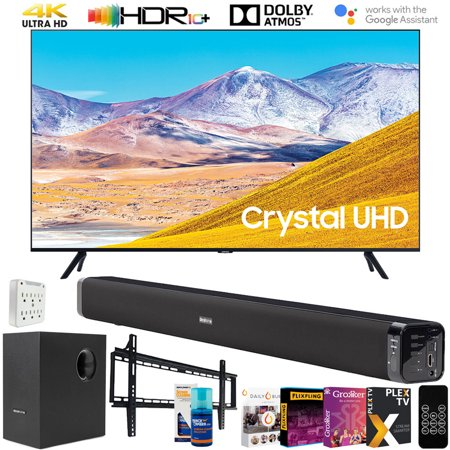 "Samsung UN55TU8000 55-inch 4K UHD Smart LED TV (2020) Bundle with Deco Gear 60W Soundbar & Subwoofer, Wall Mount, Surge Adapter, Screen Cleaner and TV Digital Essentials (55TU8000 55 Inch TV 55"" TV)"