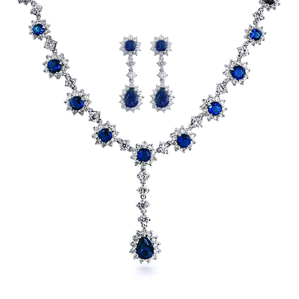 Bling Jewelry Simulated Sapphire Cubic Zirconia Necklace Earring Set Rhodium Plated by Bling Jewelry
