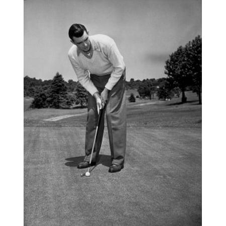 Mid adult man playing golf Canvas Art -  (18 x - Golfing Costume