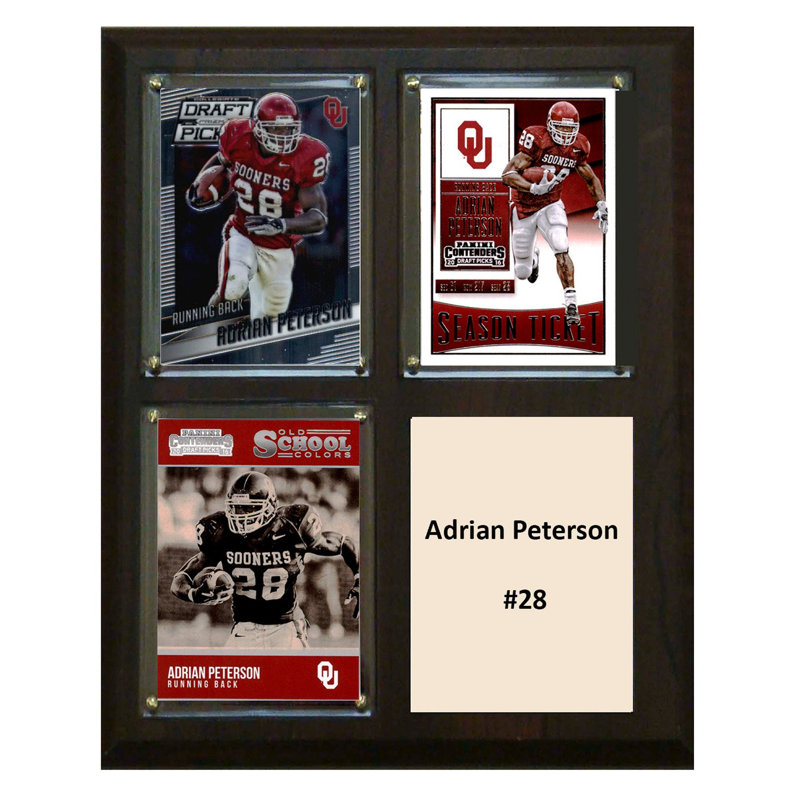 "C & I Collectables NCAA 8"" x 10"" Adrian Peterson Oklahoma Sooners 3 Card Plaque"