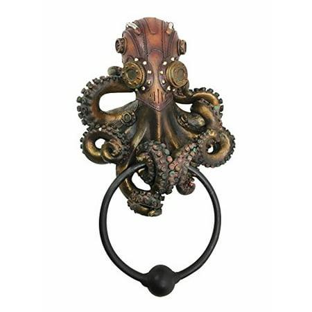 Steampunk Octopus Kraken Warrior Decorative Resin Door Knocker Figurine (Decorative Resin)