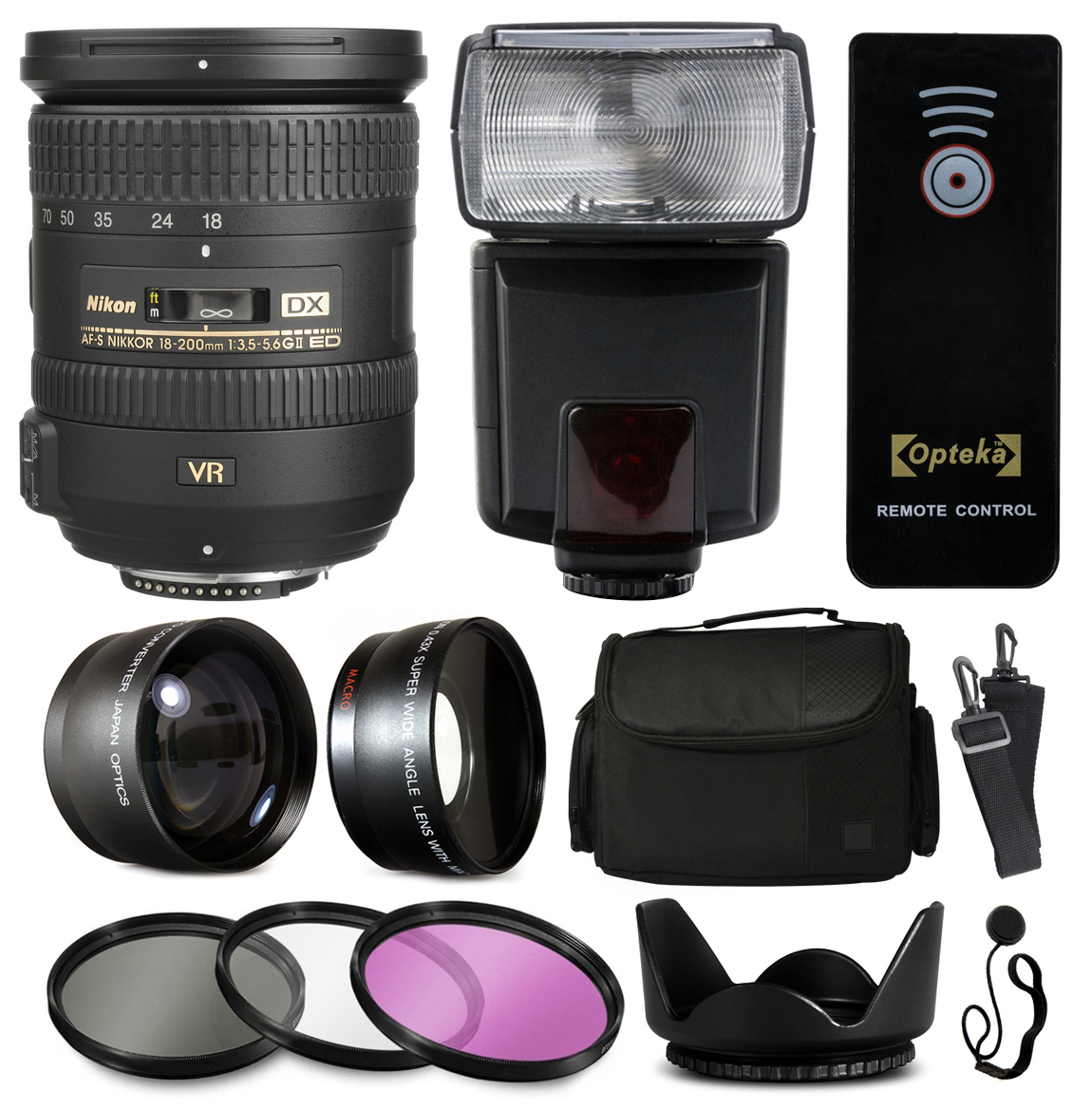 Nikon 18-200mm VR II Lens 2192 + Accessories Bundle with 2.2x & 0.43x Adapters + Flash + Case + Filters for Nikon DF D7200 D7100 D7000 D5500 D5300 D5200 D5100 D5000 D3300 D3200 D3100 D3000 D300S D90
