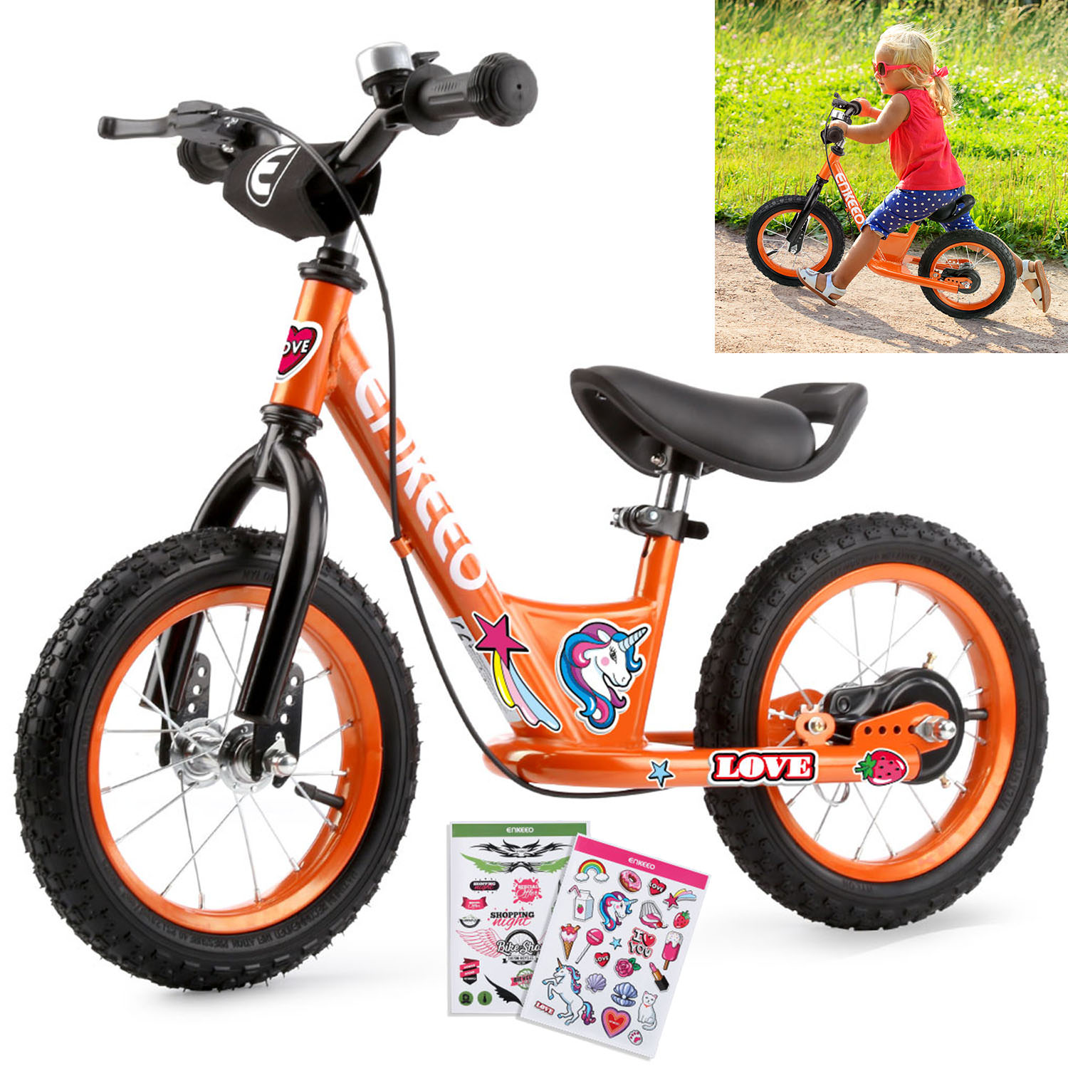 """ENKEEO 12"""" Sport Balance Bike No Pedal Walking Bicycle with Carbon Steel Frame, Adjustable Handlebar and Seat, 110lbs Capacity for Kids Toddlers Ages 2 to 6 Years Old"""