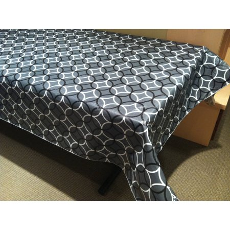 Discontinued - Last Chance Clearance! Hotel by Domay Circles Flannel Back Table Cloth, Multiple Colors and Sizes (90 Inch Round Vinyl Flannel Backed Tablecloth)