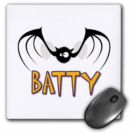 3dRose Cute Silly Batty Bat Halloween Animal Cartoon, Mouse Pad, 8 by 8 - Cute Halloween Cartoons