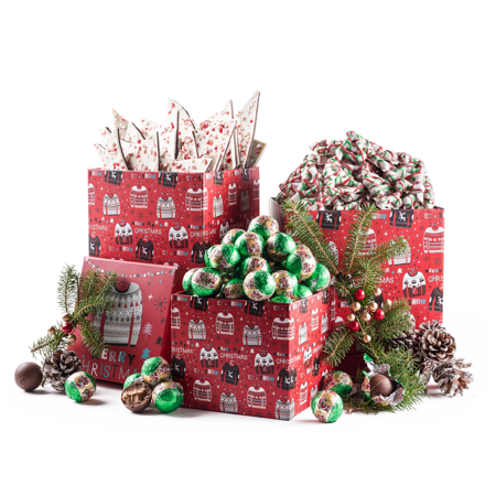 Benevelo Gifts 3 Tier Gourmet Nuts and Snacks Holiday Set | Peppermint Bark, White Chocolate Christmas Tree Pretzels & Peanut Butter Chocolate Balls](Christmas Chocolates)