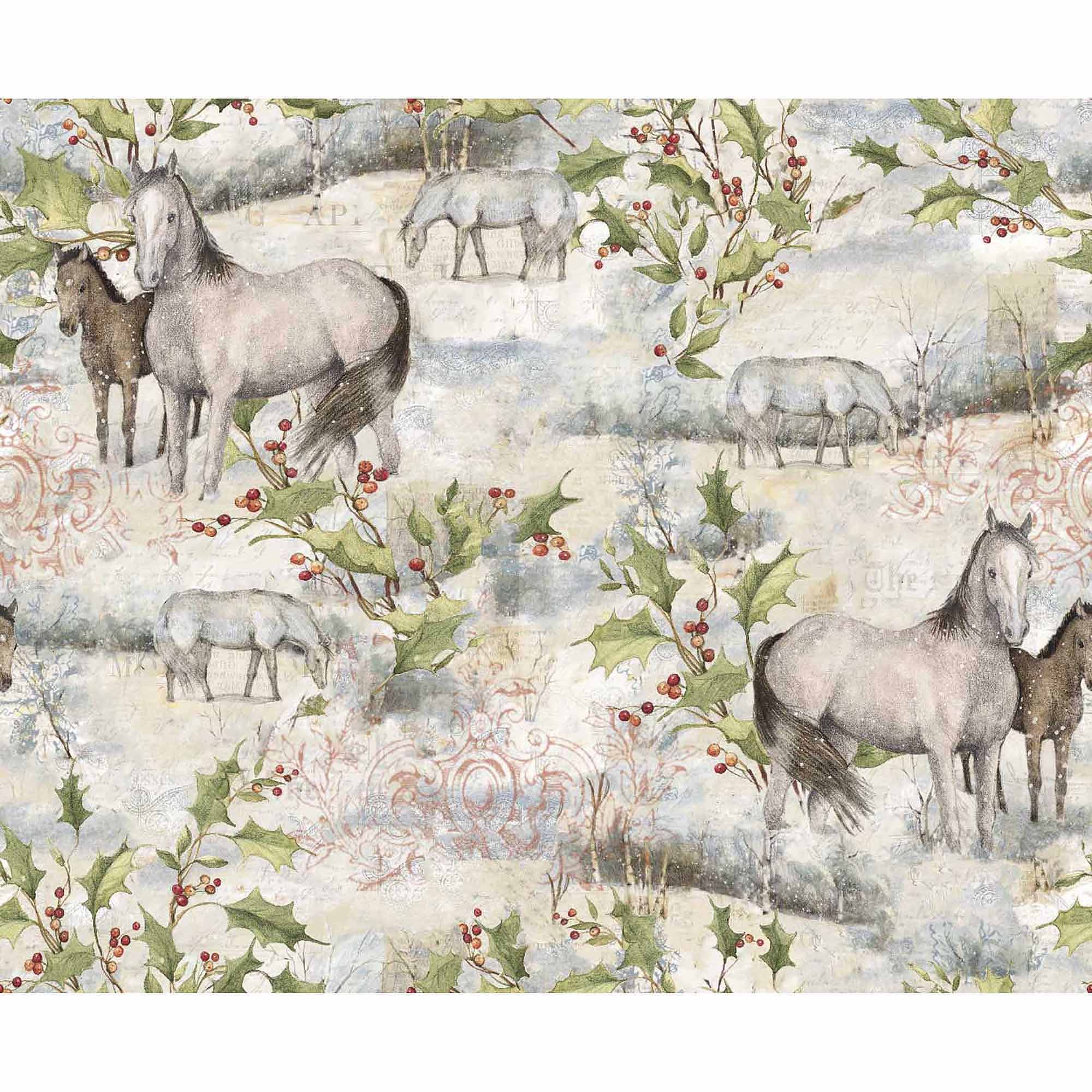Springs Creative Christmas Holiday Treat Pasture Horse, White, Fabric by the Yard