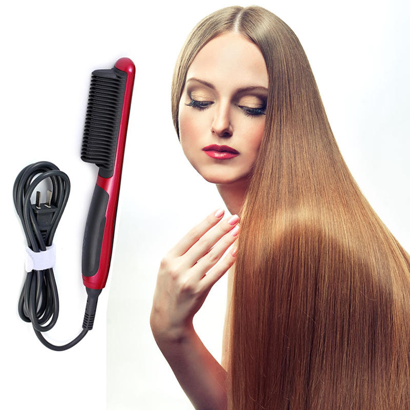 Electric Hair Straightener Flat Iron Smooth Brush Ceramic With LCD Temperature Display Beauty Hair Brush