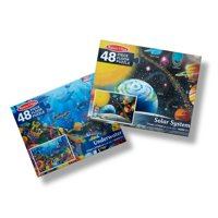 Melissa & Doug Floor Puzzle Bundle - Solar System and Underwater