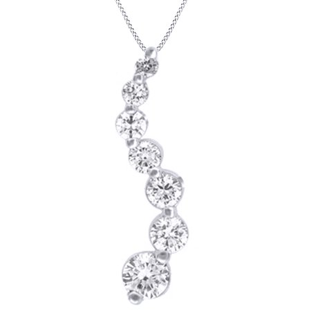 Round Cut White Natural Diamond Journey Pendant Necklace In 14k White Gold