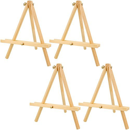 "US Art Supply 12"" Tall Tripod Easel Natural Pine Wood (Pack of 4 Easels)"