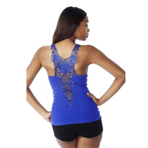 Junior Floral Lace Back Embroidery Tank Top (One Size Fits All) - Royal Blue