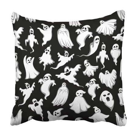 ECCOT Black Spooky Ghost Halloween Holiday Horror Night Monster of Flying Phantom and Boo Pillow Case Pillow Cover 20x20 inch - Halloween Horror Nights Pics