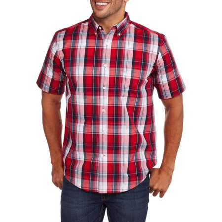 Mens Short Sleeve Plaid Woven Shirt