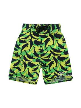 Boy Hawaiian Swimwear Board Shorts with Tie in Green Yellow with Navy Dolphin Print 10 Year Old