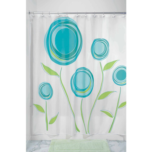 "InterDesign Marigold Fabric Shower Curtain, Standard 72"" x 72"", Blue/Green"
