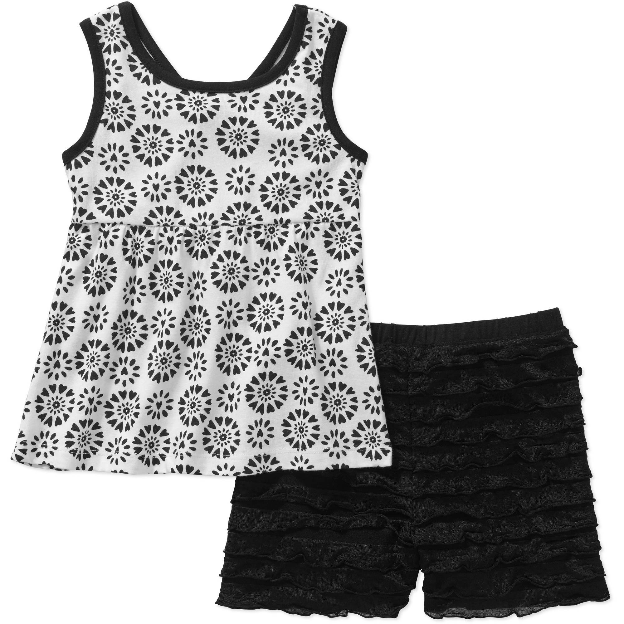 Healthtex Baby Toddler Girl Fashion Tank and Shorts 2-Piece Outfit Set
