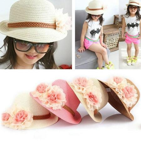 Toddlers Infants Baby Girls Flower Summer Straw Sun Beach Hat Cap