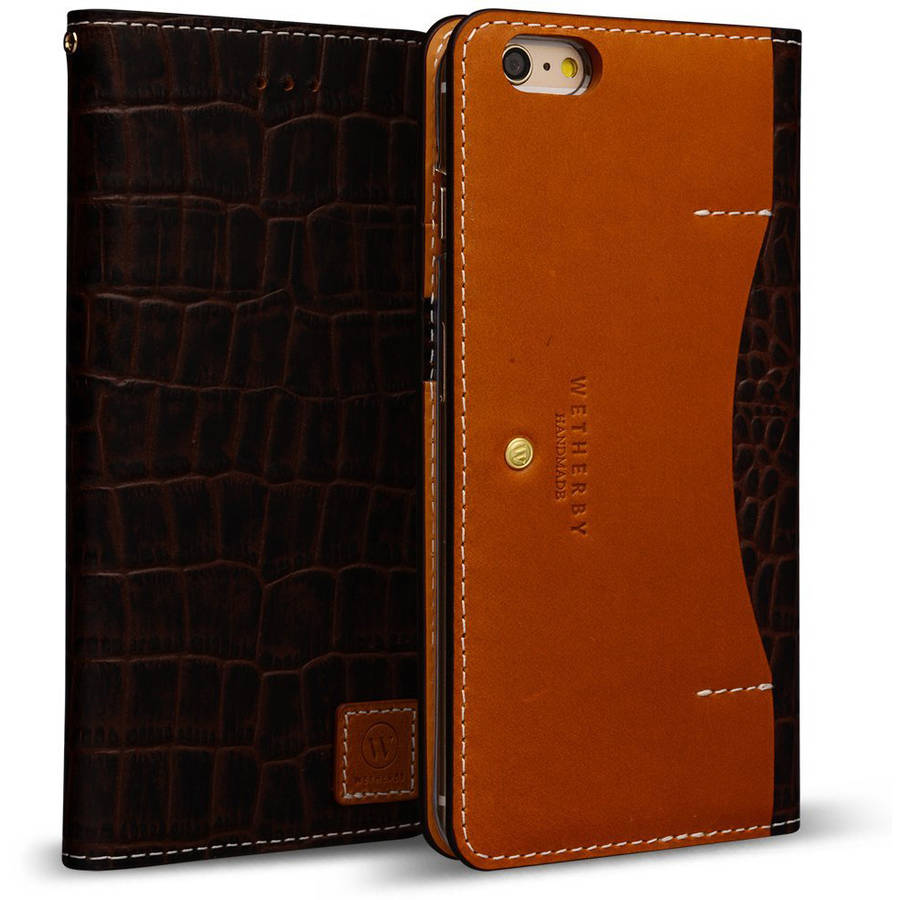 Wetherby DesignSkin Genuine Leather Wallet Case for Apple iPhone 6 Plus/6S Plus
