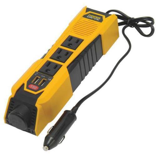 POWER DRIVE PD150 Inverter,115VAC,12VDC,3-Outlet G1618298