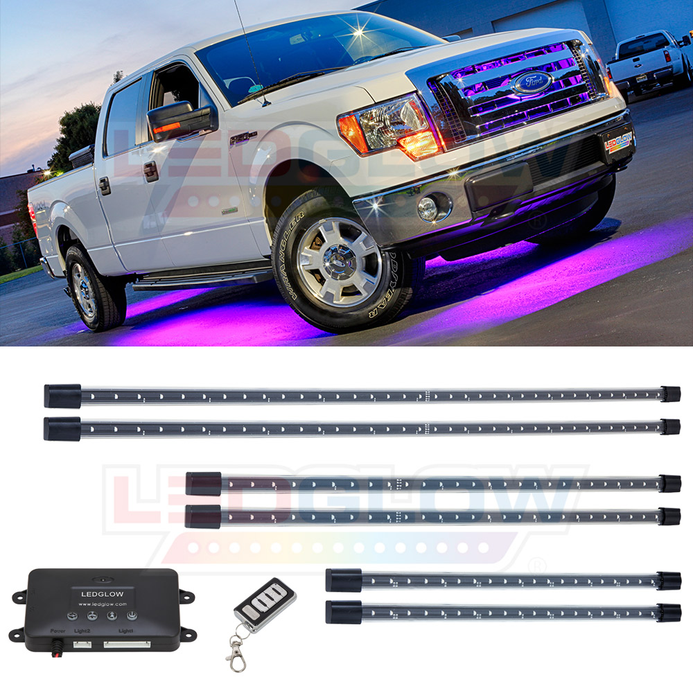 LEDGlow 6pc Purple SMD LED Wireless Truck Underbody Under...