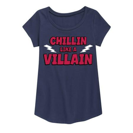 Chillin Like A Villain  - Youth Girl Short Sleeve Curved Hem Tee (Girl Villains)