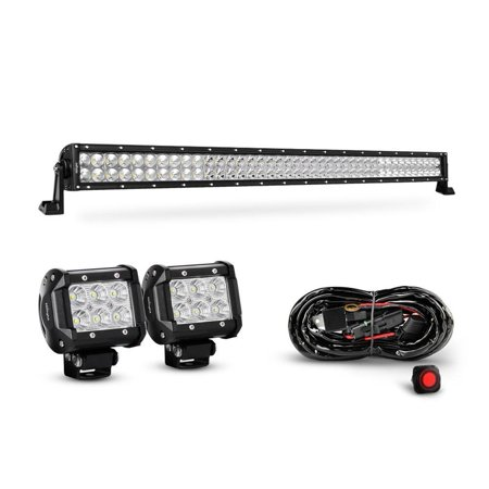 Nilight 42 Inch 240W Spot Flood Combo Led Light Bar 2PCS 4 Inch 18W Flood LED Fog Lights With Off Road Heavy Duty Wiring Harness, 2 years Warranty