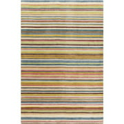3.25' x 5.25' Sarasvati Stripes Raspberry Red and Steel Blue New Zealand Wool Area Throw Rug