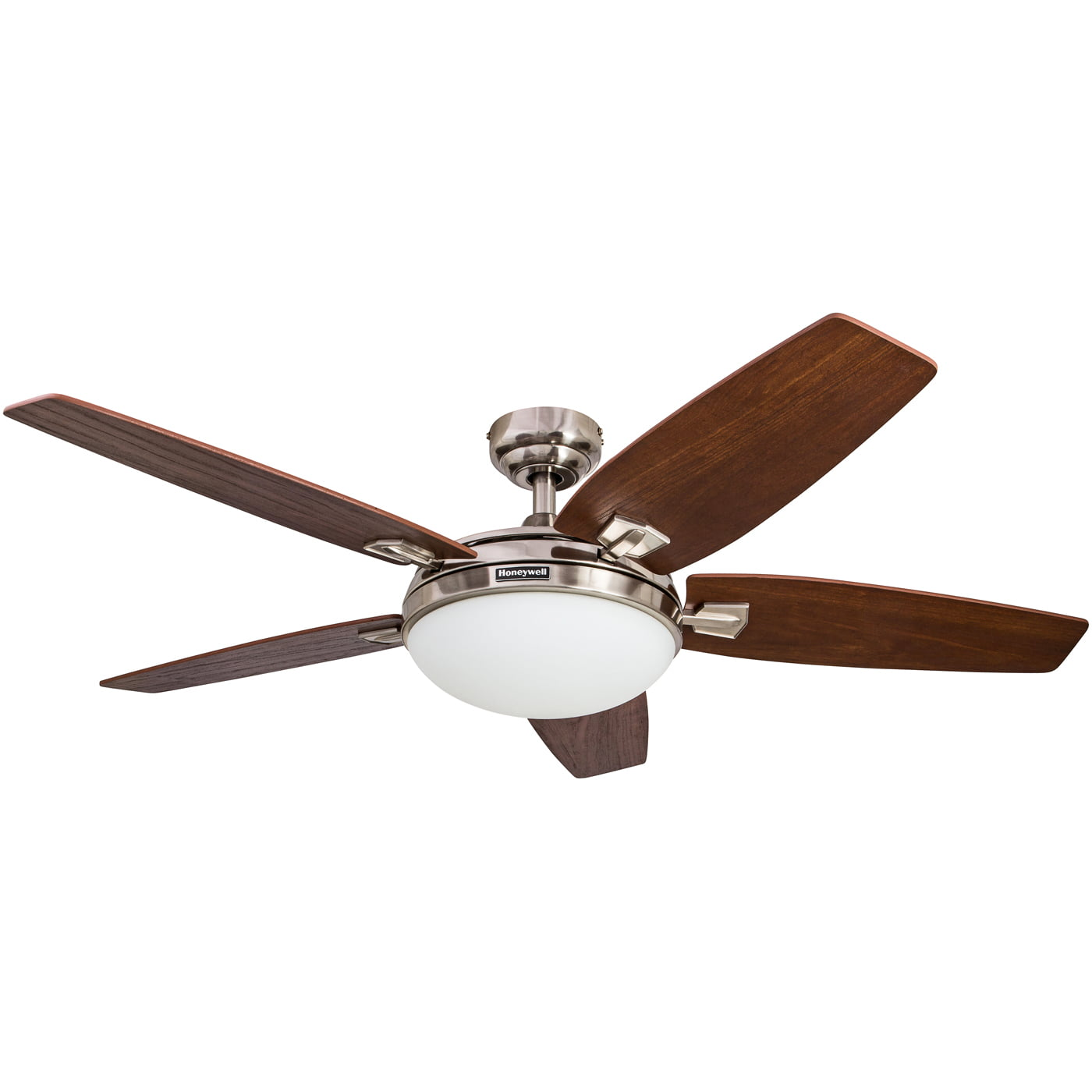"48"" Honeywell Carmel Brushed Nickel Ceiling Fan with Integrated Light and Remote by HKC"