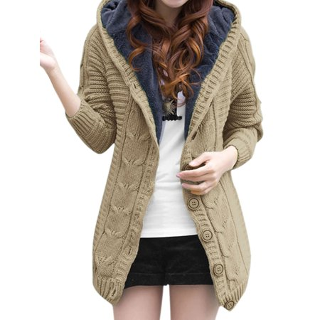 (Women's Long Raglan Sleeves Single Breasted Hooded Knitted Cardigan (Size XS / 2))