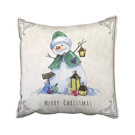 Watercolor Snowman - WinHome Cute Watercolor Snowman Christmas Holiday Polyester 18 x 18 Inch Square Throw Pillow Covers With Hidden Zipper Home Sofa Cushion Decorative Pillowcases