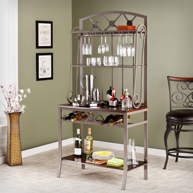 Details about Metal Bar Wine Storage Bakers Rack Bottle Glass Holder  Kitchen Dining Room Decor