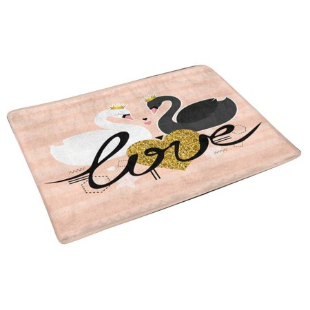 POP Valentine's Day Cute Birds with Black and White Swans Door Mat Home Decor Indoor Entrance Doormat 30x18 Inches - image 2 of 3