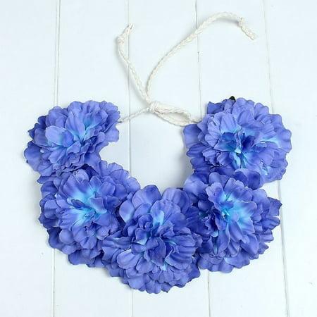Big Flower Boho Wreath Crown Wedding Headband Floral Garland Hair Tied - Floral Head Wreath