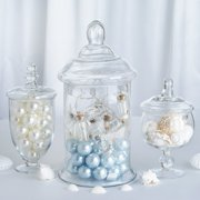 """Efavormart Set of 3 Clear Apothecary Glass Candy Jars With Lids – 8""""/10""""/13"""""""