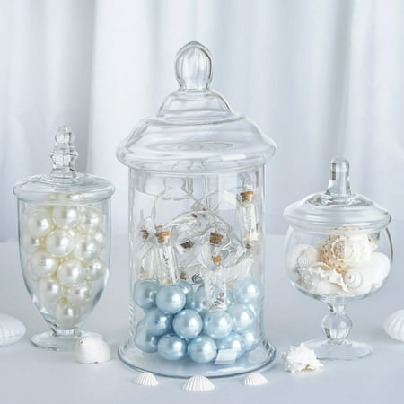 Efavormart Set of 3 Clear Apothecary Glass Candy Jars With Lids – 8