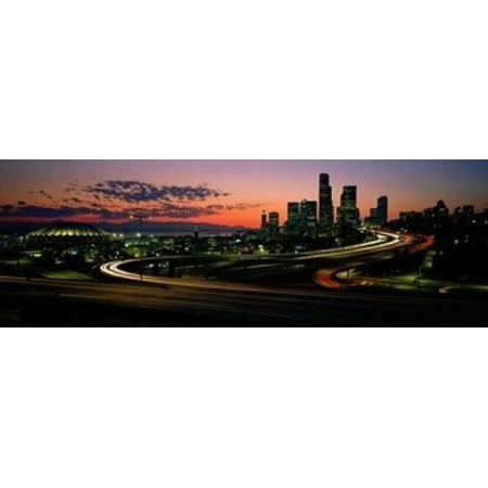 Sunset Puget Sound & Seattle skyline WA USA Poster Print