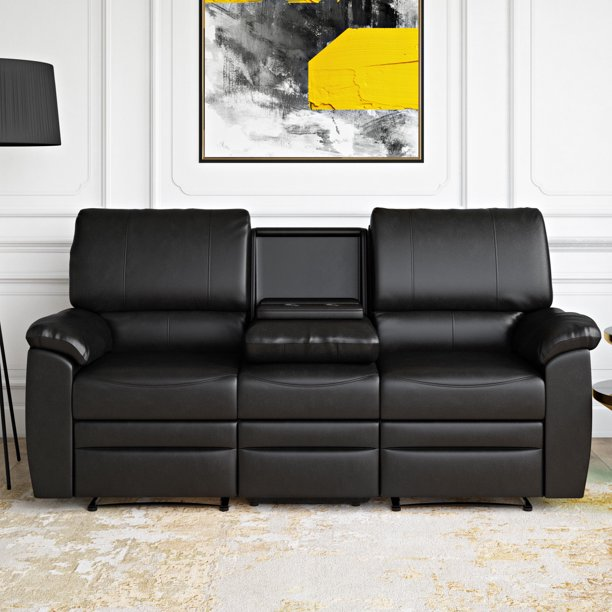 Relax-A-Lounger Clifton Faux Leather Recliner Sofa, Black