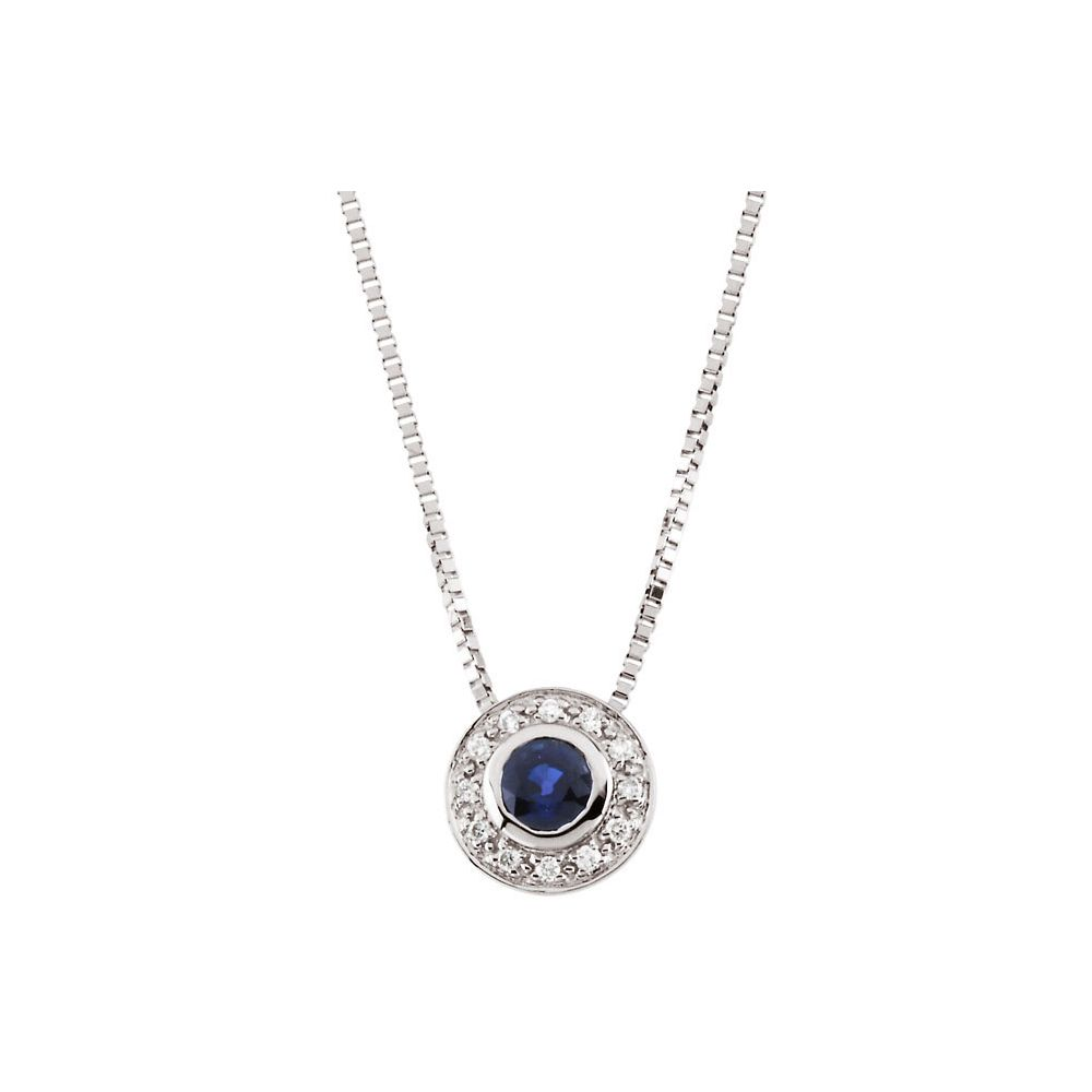 14k White Necklace Sapphire and Diamond N by