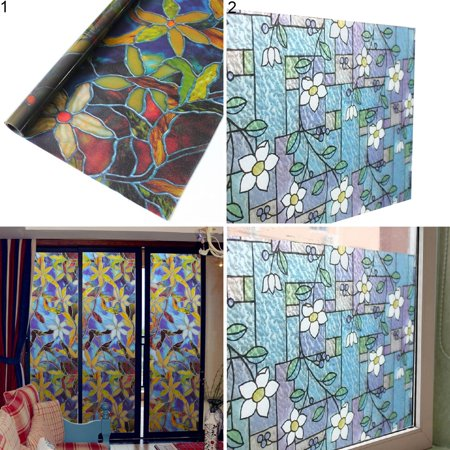 Heepo 45x100cm Orchid Window Film PVC Stained Glass Home Privacy Stickers DIY Decor